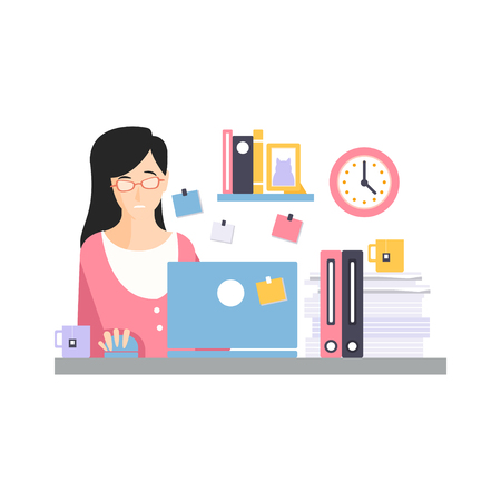 Brunette businesswoman character sitting at the computer desk with laptop working and drinking tea, daily life of office employee vector Illustration