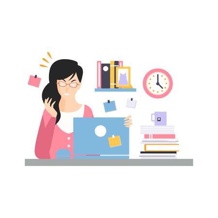 ラップトップと仕事、オフィス従業員のベクトル図の仕事の瞬間でコンピュータデスクに座って忙しい若いビジネスウーマンのキャラクターを強調