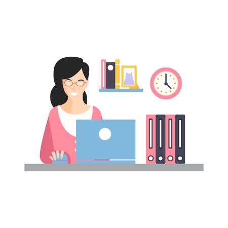 우아한 미소 사업가 문자 그녀의 사무실 직장, 사무실 직원의 일상 생활에서 노트북과 함께 벡터 일러스트 레이 션