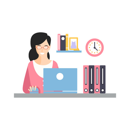 Elegant smiling businesswoman character working with laptop at her office workplace, daily life of office employee vector Illustration