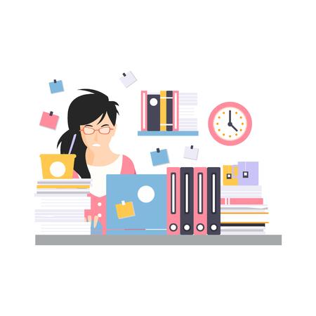 ラップトップでコンピュータデスクに座って忙しい若いビジネスウーマンのキャラクター、オフィス従業員ベクトルイラストレーションの作業モー