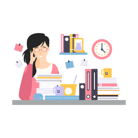 Young tired businesswoman character sitting at the desk having a lot of work with documents, daily life of office employee vector Illustration Иллюстрация