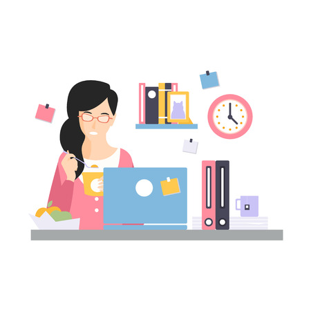 Brunette businesswoman character having a launch at her office workplace, daily life of office employee, working moment at office vector Illustration