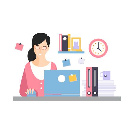 エレガントな実業家キャラクターは、彼女のオフィスの職場でノートパソコンで作業します, 白い背景にオフィスの従業員のベクトルイラストの日常