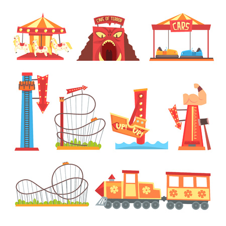 Amusement park elements set, funfair attraction colorful cartoon vector Illustrations on a white background