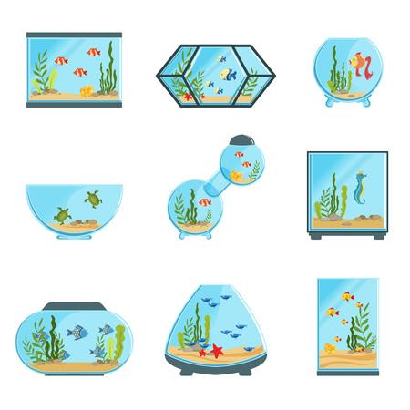 Aquariumtanks die, verschillende soorten aquariums met installaties en vissen worden geplaatst gedetailleerde vectorillustraties op een witte achtergrond