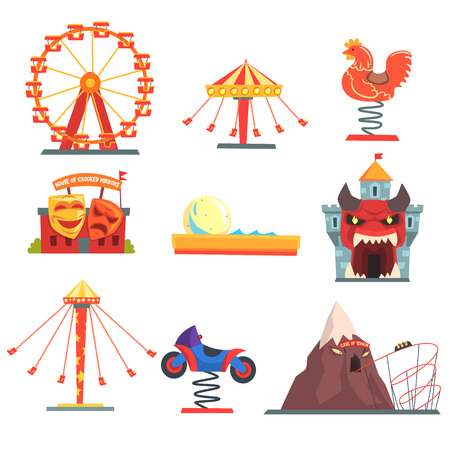 Amusement park with family attractions set of colorful cartoon vector Illustrations on a white background