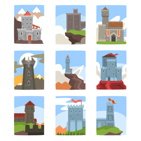 Ancient castles and fortresses set, medieval architecture landscape with green trees, grass, hills, stones and clouds vector Illustrations