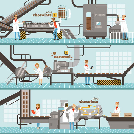 Process of caramel and chocolate production set of horizontal colorful banners? chocolate factory colorful detailed vector Illustrations Ilustração