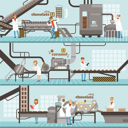 Processo de produção de caramelo e chocolate conjunto de banners coloridos horizontais? ilustrações coloridas coloridas do vetor da fábrica do chocolate