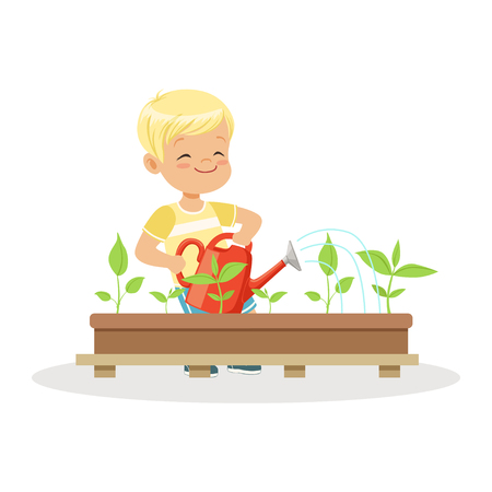 Cute happy boy watering plants from a watering can, lesson of botany in kindergarten cartoon vector Illustration on a white background