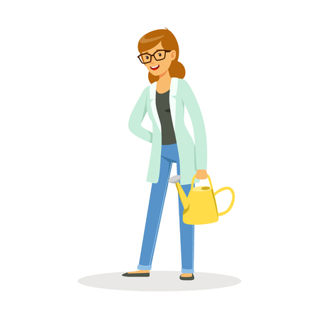 Teacher of botany standing with a watering can cartoon vector Illustration on a white background