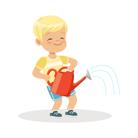 Cute happy little boy standing with a red watering can cartoon vector Illustration on a white background