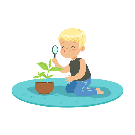 Cute happy little boy examining a plant through a magnifying glass, lesson of botany in kindergarten cartoon vector Illustration on a white background