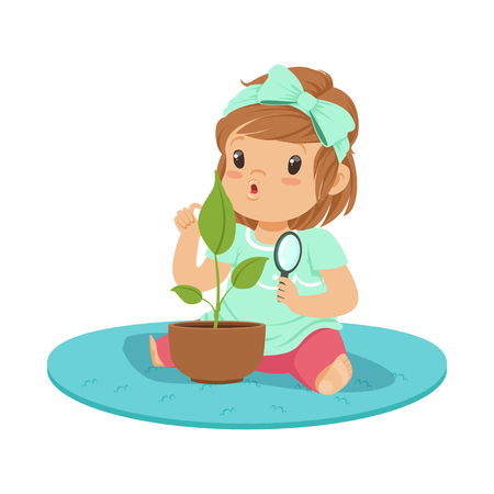 Sweet little girl sitting on the floor and examining a plant through a magnifying glass, lesson of botany in kindergarten cartoon vector Illustration on a white background