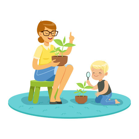 Little boy examining a plant through a magnifying glass and learning about plants with teacher, lesson of botany in kindergarten cartoon vector Illustration on a white background