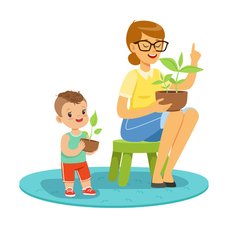 Little boy learning about plants with teacher, lesson of botany in kindergarten cartoon vector Illustration on a white background