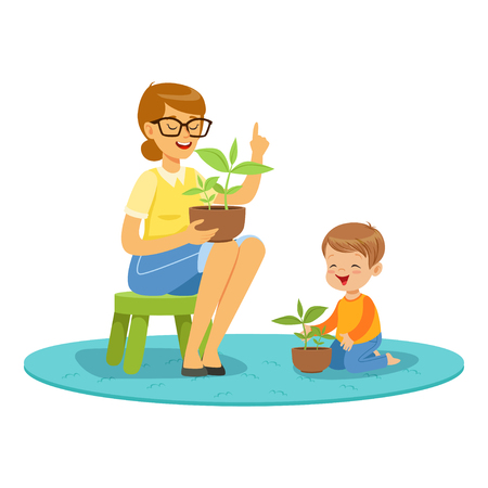 Teacher and little boy learning about plants during of botany lesson in kindergarten cartoon vector Illustration on a white background Illustration