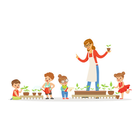 Friendly teacher explaining kids about plants during lesson of botany in kindergarten cartoon vector Illustration on a white background Stock Vector - 85135747