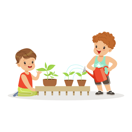 Cute little boys caring for plants during lesson of botany in kindergarten cartoon vector Illustration on a white background