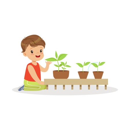 Cute little boy learning about plants during lesson of botany in kindergarten cartoon vector Illustration on a white background Stock fotó - 85135926