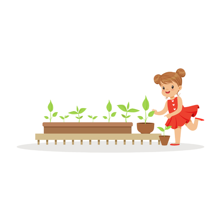 Cute little girl learning about plants during lesson of botany in kindergarten cartoon vector Illustration on a white background Illusztráció