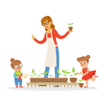 lesson: Little girl and boy helping their teacher to care for plants during botany lesson in kindergarten cartoon vector Illustration on a white background