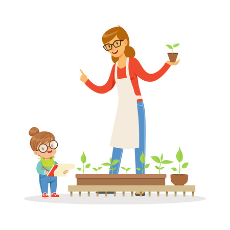Cute little girl helping her teacher to care for plants during botany lesson in kindergarten cartoon vector Illustration on a white background