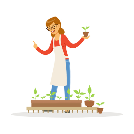 Friendly teacher telling about plants during lesson of botany in kindergarten cartoon vector Illustration on a white background