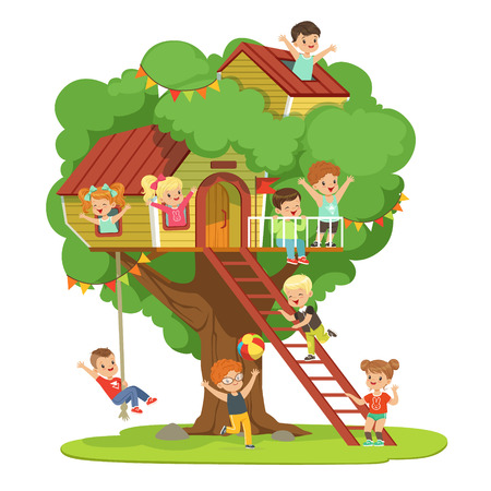 Kids having fun in the treehouse, childrens playground with swing and ladder colorful detailed vector Illustration on a white background Stock Illustratie