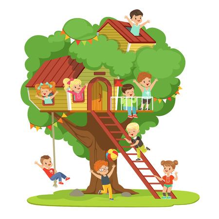 Kinderen met plezier in de boomhut, kinderspeelplaats met schommel en ladder kleurrijke gedetailleerde vector illustratie op een witte achtergrond Stock Illustratie