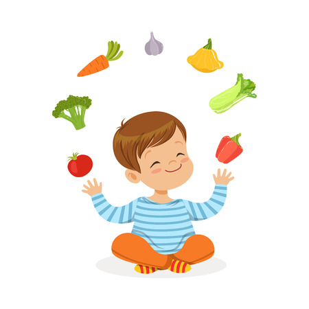 Smiling little boy sitting on the floor juggling with vegetables, kids healthy food concept colorful vector Illustration on a white background Ilustracja