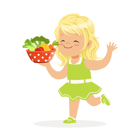 Sweet blonde little girl running with bowl full of vegetables, kids healthy food concept colorful vector Illustration on a white background Ilustração