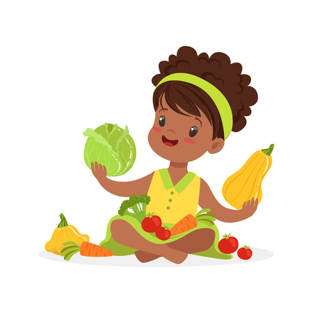 Sweet little girl sitting on the floor playing with vegetables, kids healthy food concept colorful vector Illustration on a white background 向量圖像