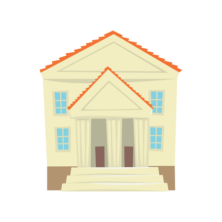 Justice court building cartoon vector Illustration on a white background Ilustração
