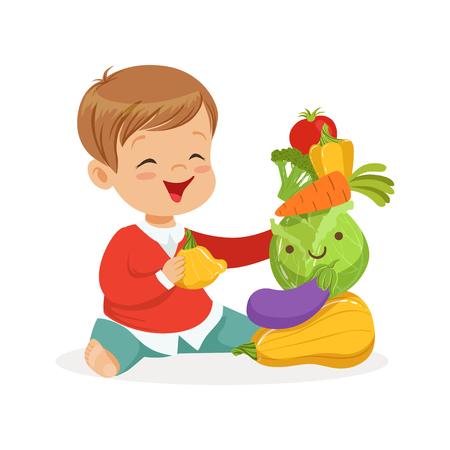 野菜、遊んで子供健康食品コンセプト カラフルなベクトル イラスト白い背景の上の床に座って少年を笑顔