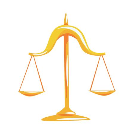 黄金の白い背景に正義漫画ベクトル図のスケールします。