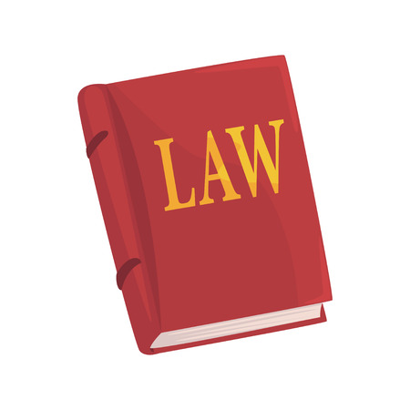Red law book cartoon vector Illustration on a white background