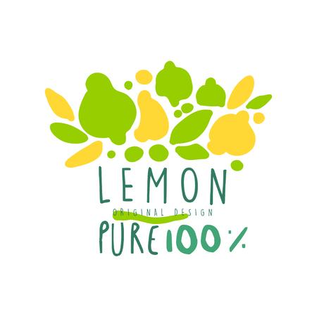 Lemon 100 percent logo template original design, colorful hand drawn vector Illustration Illustration