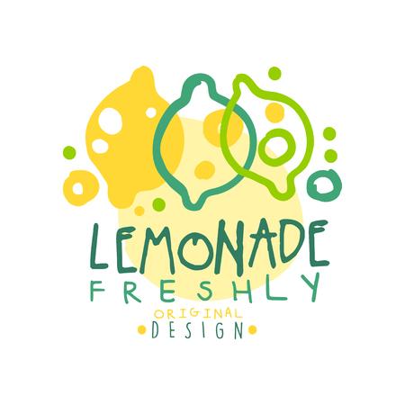 갓 레모네이드 로고 템플릿 원래 디자인, 다채로운 손으로 그린 벡터 일러스트 레이 션 일러스트
