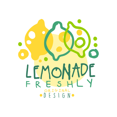Freshly lemonade logo template original design, colorful hand drawn vector Illustration Ilustração