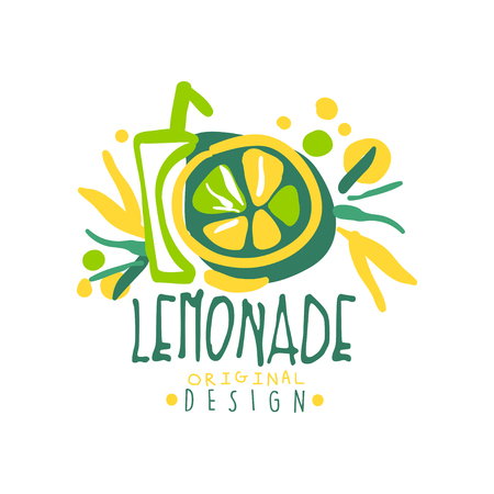 Lemonade logo template original design, colorful hand drawn vector Illustration