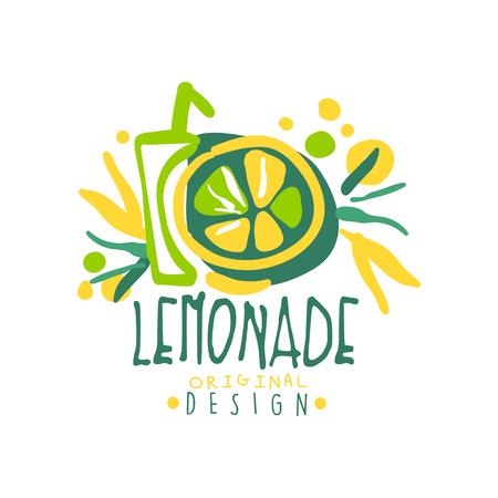 Lemonade logo template original design, colorful hand drawn vector Illustration