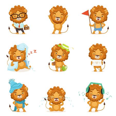 caractères de lion mignons posant dans différentes situations illustrations vectorielles coloré