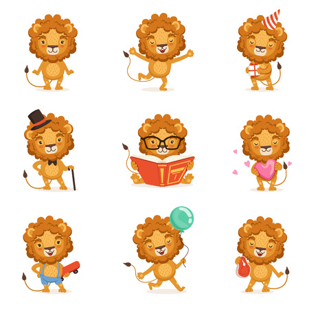Cute lion character character doing different activities colorful vector Illustrations Ilustracja