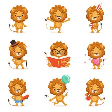 Leuk leeuwkarakterkarakter die verschillende activiteiten kleurrijke vectorillustraties doen Stock Illustratie