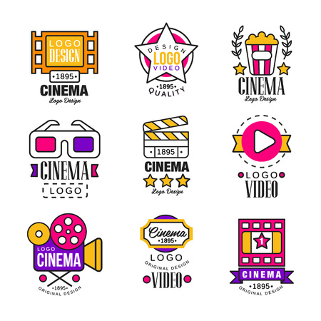 Cinema since 1895 logo design set, video symbols in retro retro style vector Illustrations on a white background