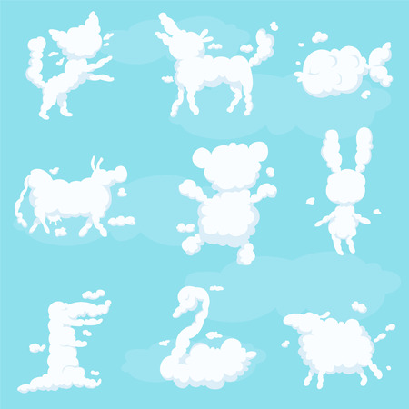 Animal clouds white silhouette set, kid imagination sweet dreams vector Illustrations on a light blue background Illustration