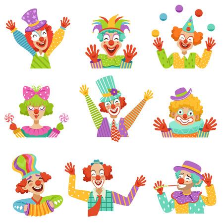 Happy cartoon vriendelijke clowns karakter kleurrijke vector illustraties op een witte achtergrond Stock Illustratie