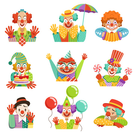 Grappige cartoon vriendelijke clowns karakter kleurrijke vector illustraties op een witte achtergrond Stock Illustratie